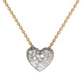 Колье Сердце с фианитами, комбинированное золото