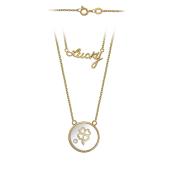 Колье с надписью Lucky, Клевером в круглом стекле, красное и белое золото