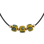 Колье на каучуковом ремешке с тремя шариками Мурано и золотыми шариками, красное золото 585 проба