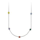 Колье на якорной цепи с восемью цветными фианитами в круглой оправе, белое золото