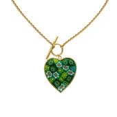 Колье Сердце, венецианское стекло, желтое золото