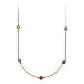 Колье на якорной цепи с восемью цветными фианитами в круглой оправе, желтое золото