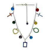 Колье с подвесками (крест, сердце, рамка, бусины) и цветными фианитами, серебро