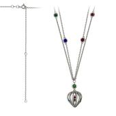 Колье Китай сердце с красными, синими и зелеными фианитами, серебро