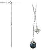Колье Восток с имитацией черной жемчужины и фианитом, серебро