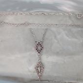 Колье Ромбы с коричневыми фианитами, серебро
