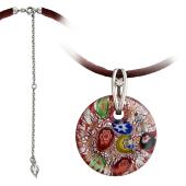 Колье Цветы из муранского стекла на текстильном шнурке с серебряным удлинителем