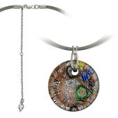 Колье Земля из муранского стекла на текстильном шнурке с серебряным удлинителем