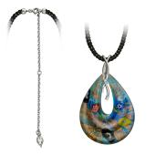 Колье Море из муранского стекла на текстильном шнурке с серебряным удлинителем