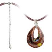 Колье Капля из муранского стекла на текстильном шнурке с серебряным удлинителем