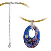 Колье Подводный Мир из муранского стекла на текстильном желтом шнурке с серебряным удлинителем