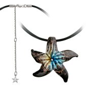 Колье Морская Звезда из муранского стекла на текстильном шнурке с серебряным удлинителем