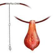Колье Алый цветок с муранским стеклом на текстильном шнурке