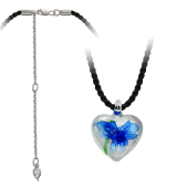 Колье Сердце с синим цветком на текстильном шнурке с фианитом