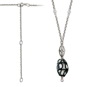 Колье Фонарь с муранским стеклом и фианитами, серебро