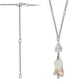 Колье Лилия с муранским стеклом и фианитом, серебро