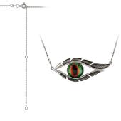 Колье Амулет с зеленым глазом и удлинителем, серебро с чернением
