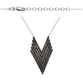 Колье Dream треугольное с черными фианитами, серебро