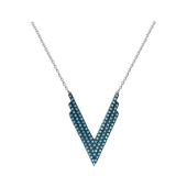 Колье Треугольник Стрела с голубыми фианитами из серебра