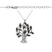Колье Дерево с черными фианитами из серебра 925 пробы