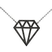 Колье Кристалл с черными фианитами, серебро