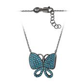 Колье Бабочка с голубыми фианитами на якорной цепи, серебро с чернением