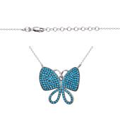 Колье Dream бабочка с искусственной бирюзой, серебро