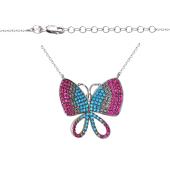 Колье Бабочка с розовыми фианитами и искусственной бирюзой, серебро