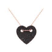 Колье Сердце с черными фианитами из серебра с позолотой