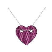 Колье Сердце с розовыми фианитами на якорной цепи, серебро
