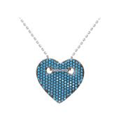 Колье Сердце с голубыми фианитами на якорной цепи, серебро