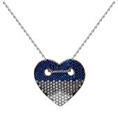 Колье Сердце с синими и прозрачными фианитами на якорной цепи, серебро
