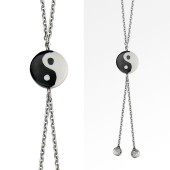 Колье Инь и Ян с керамикой на серебряной цепи