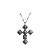 Колье Dream крест с черными фианитами, серебро с чернением