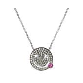 Колье Смайлик с розовыми и прозрачными фианитами, серебро с чернением