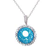 Колье Dream Солнце с голубым пластиком и прямоугольными фианитами на якорной цепи, серебро