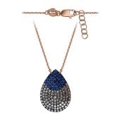 Колье Капля с синими и прозрачными фианитами, серебро с позолотой