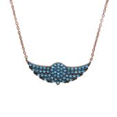 Колье Крылья с голубыми фианитами под бирюзу, серебро с золотым покрытием