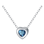 Колье Сердце с сапфиром из серебра 925