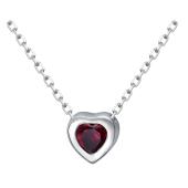 Колье Сердце с рубином из серебра 925