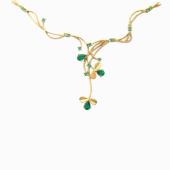 Колье Весенние Цветы с цветными камнями ( топаз, аметист, хризолит, гранат), красное золото