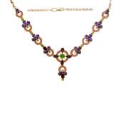 Колье Геометрия с цветными камнями (аметист, родолит, хризолит, цитрин), красное золото