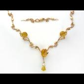 Колье Цветочное с цветными камнями (топаз, цитрин), красное золото
