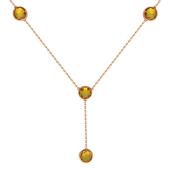 Колье декоративное Бриолетта, четыре круглые вставки, красное золото
