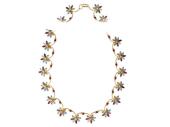 Колье декоративное, разноцветные цветы с полудрагоценными камнями, желтое золото