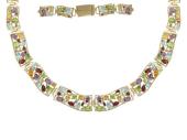 Колье декоративное ColorBlock с разноцветными камнями, желтое золото