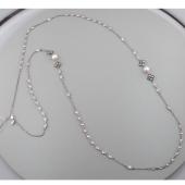 Колье длинное с жемчугом и фианитом из серебра 925 пробы