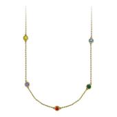 Колье с восемью круглыми цветными сапфирами, желтое золото