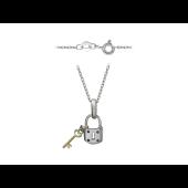 Колье Замочек с ключиком на якорной цепи, четыре сапфира, белое и желтое золото 750 проба