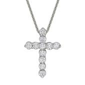 Колье Крест с бриллиантами, белое золото
